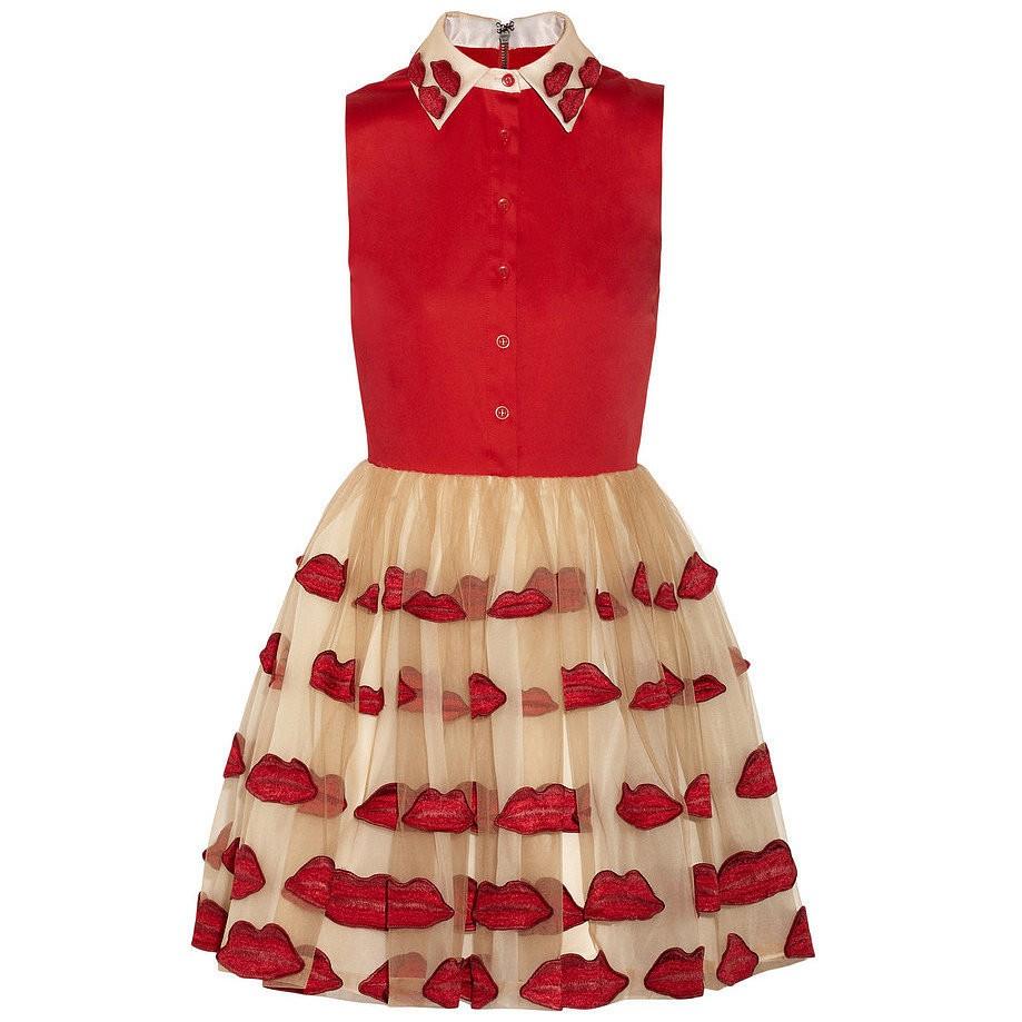 Alice + Olivia Pout appliquéd stretch-cotton and tulle dress
