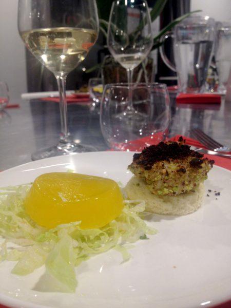Cuore di Capasanta in crosa di pistacchio e gelatina di Arancia e Contreau