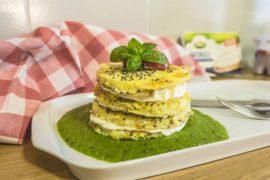 Puncakes di Frittata con crema di piselli e formaggio Arla